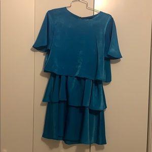 Zara ruffled satin effect dress